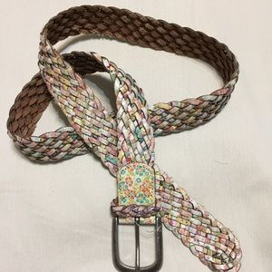FOSSIL MULTI COLOR LEATHER BRAID BELT